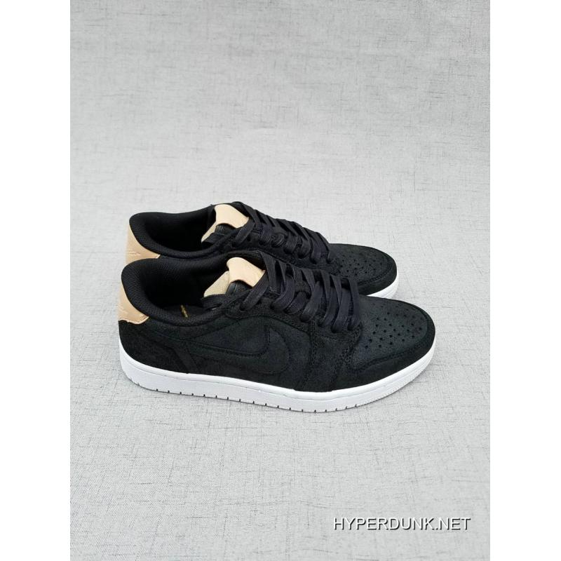 ... 2019 Latest Nike Air Jordan 1 Retro Low OG Premium Black/Vachetta Tan-White  ...