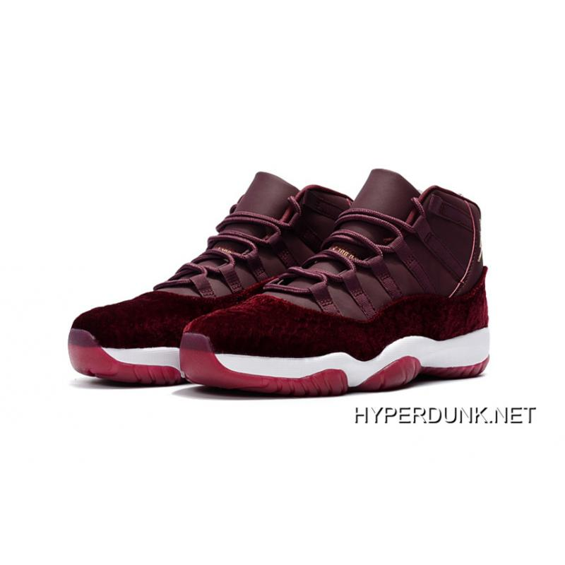0b3e95a9e27 ... Nike Air Jordan 11 Velvet Maroon Gold Flower Print 2019 Latest ...
