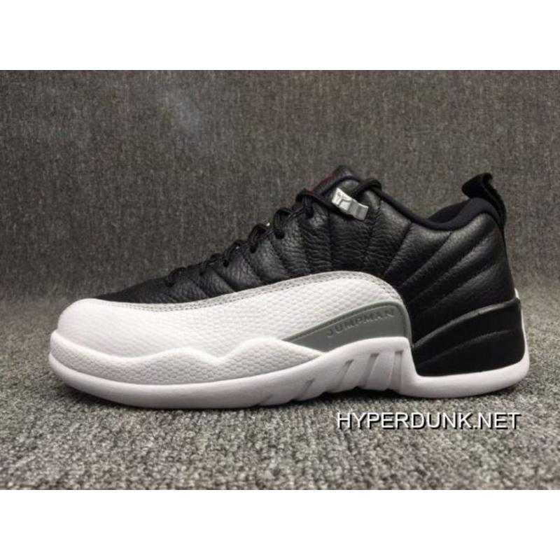 low priced 00a14 55647 Free Shipping Air Jordan 12 Low 'Playoffs' Black And Varsity Red-White