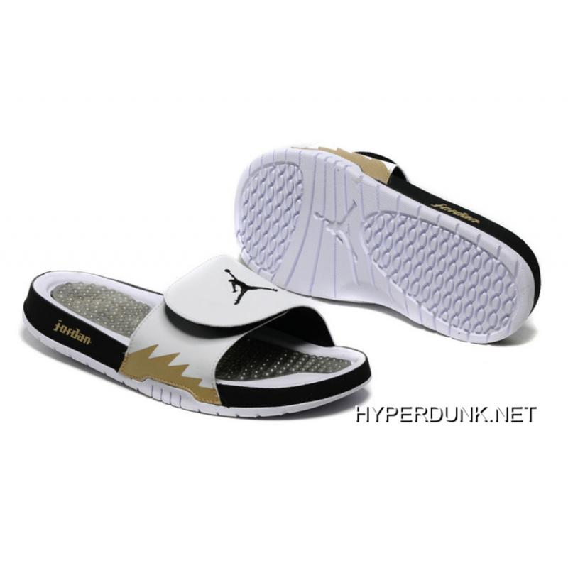 6d5e7b608083 Nike Air Jordan Hydro 5 White Black Gold Slide Sandals 2019 For Sale ...
