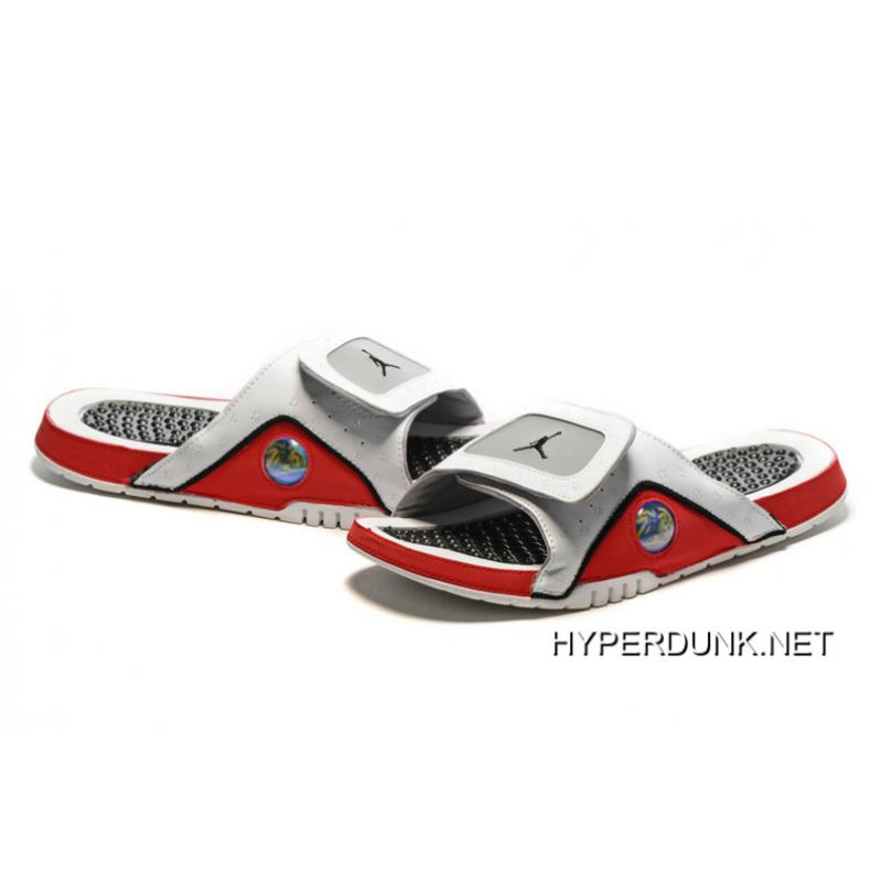 2894ef3fb165 ... 2019 Discount Nike Jordan Hydro 13 Slide Sandals White Black True  Red Cement ...