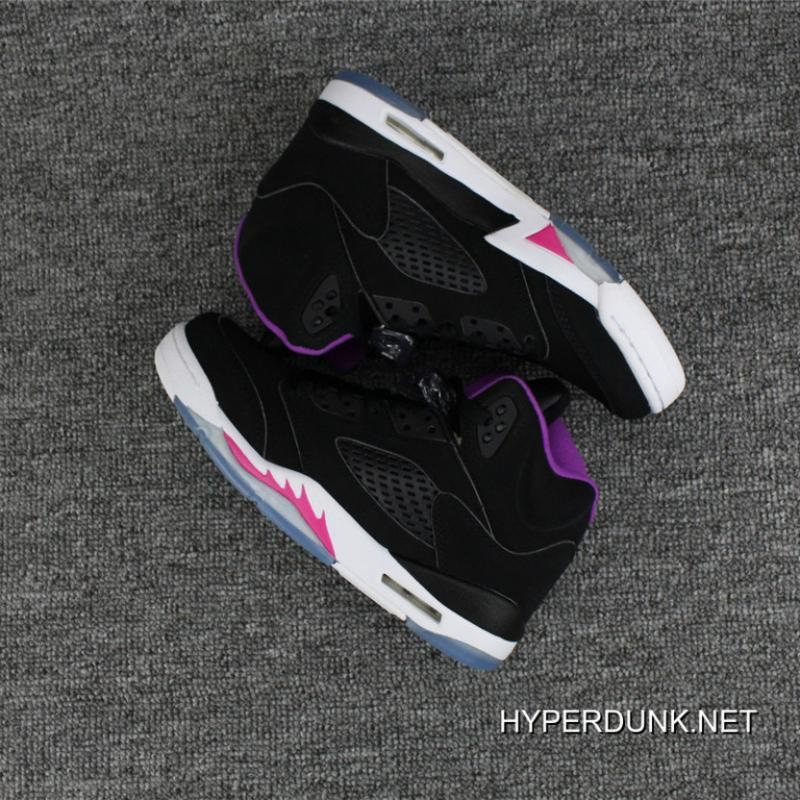 8ee9aaa3bbb35a ... 2019 Free Shipping Nike Air Jordan 5 GS Black Purple Deadly Pink-White  Hot