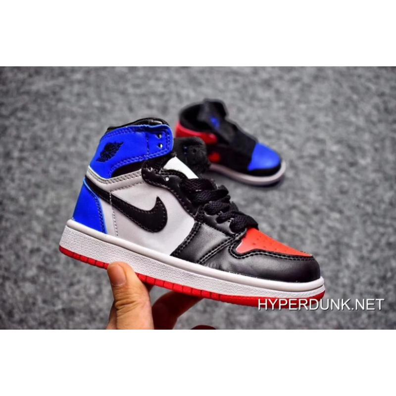 "48c4f9a6e212 Nike Air Jordan 1 Kids ""Top 3″ Black Varsity Red-Varsity Royal 2019 ..."