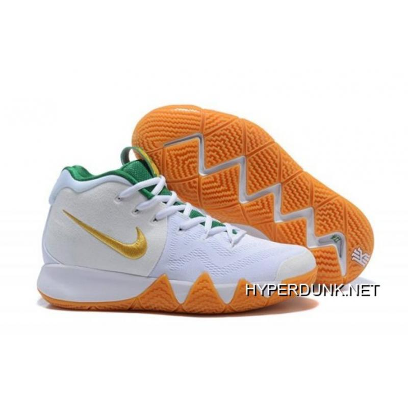 53578f3649d Nike Kyrie 4 White Gold-Green Discount ...