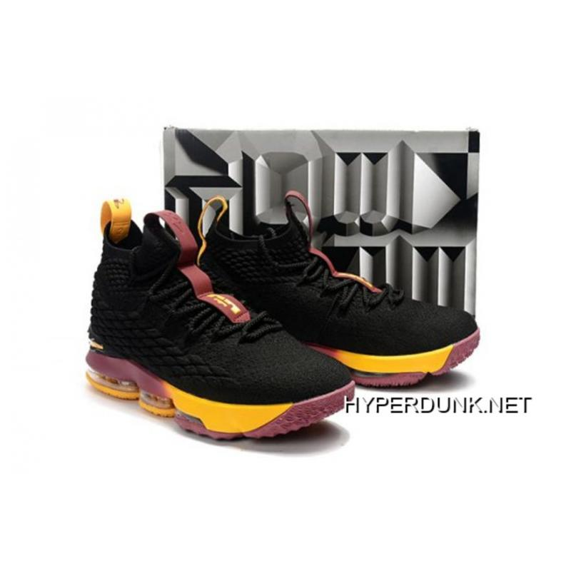 "80d342fe04f 2019 Discount Nike LeBron 15 ""Cavs"" Black Yellow And Wine ..."