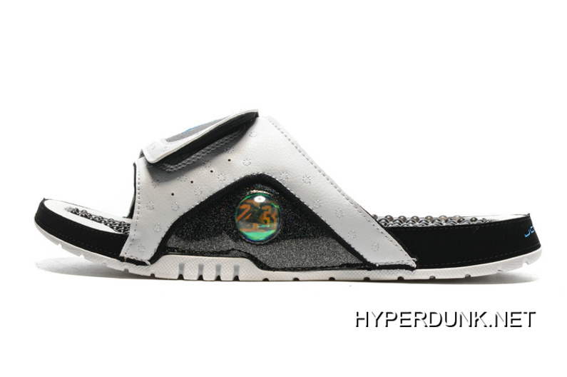 e43f587a40e2 2019 New Style Nike Jordan Hydro 13 Slide Sandals White Black Blue ...